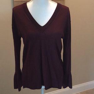 J.Crew burgundy bell sleeve sweater